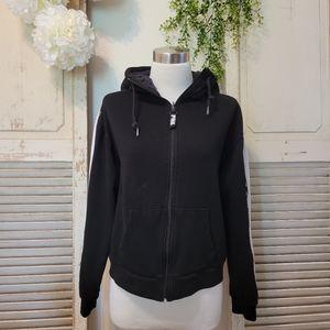 Pink Victoria's Secret black zip-up hoodie